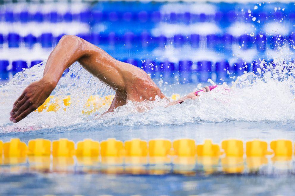 Christoffer Carlsen, Helsingborgs simsällskap, simmar sin sträcka i finalen i 4x100 meter frisim under dag 7 av SM-veckan den 2 juli 2019 i Malmö.