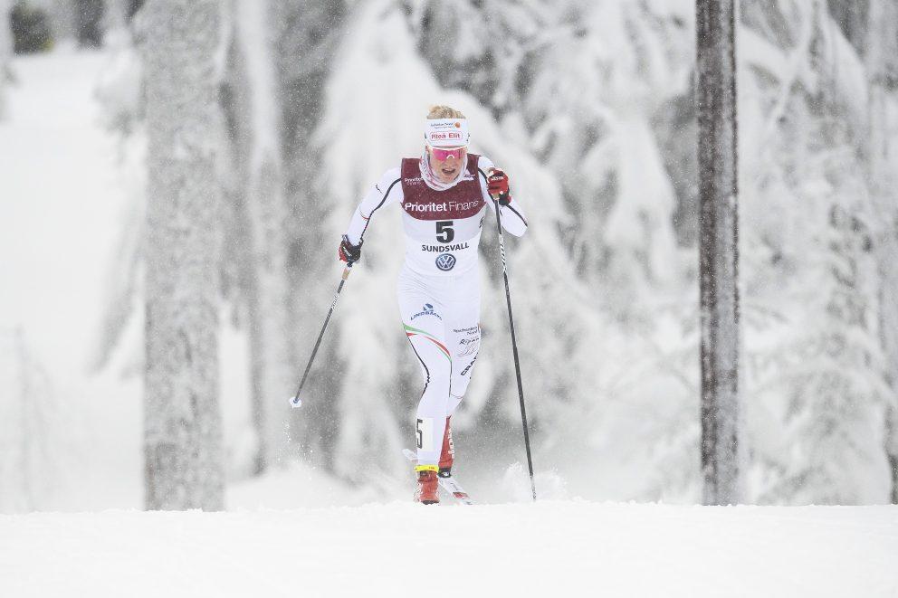 Lisa Vinsa, Piteå, tävlar i damernas 15km masstart under dag 7 av SM-veckan den 3 februari 2019 i Sundsvall.