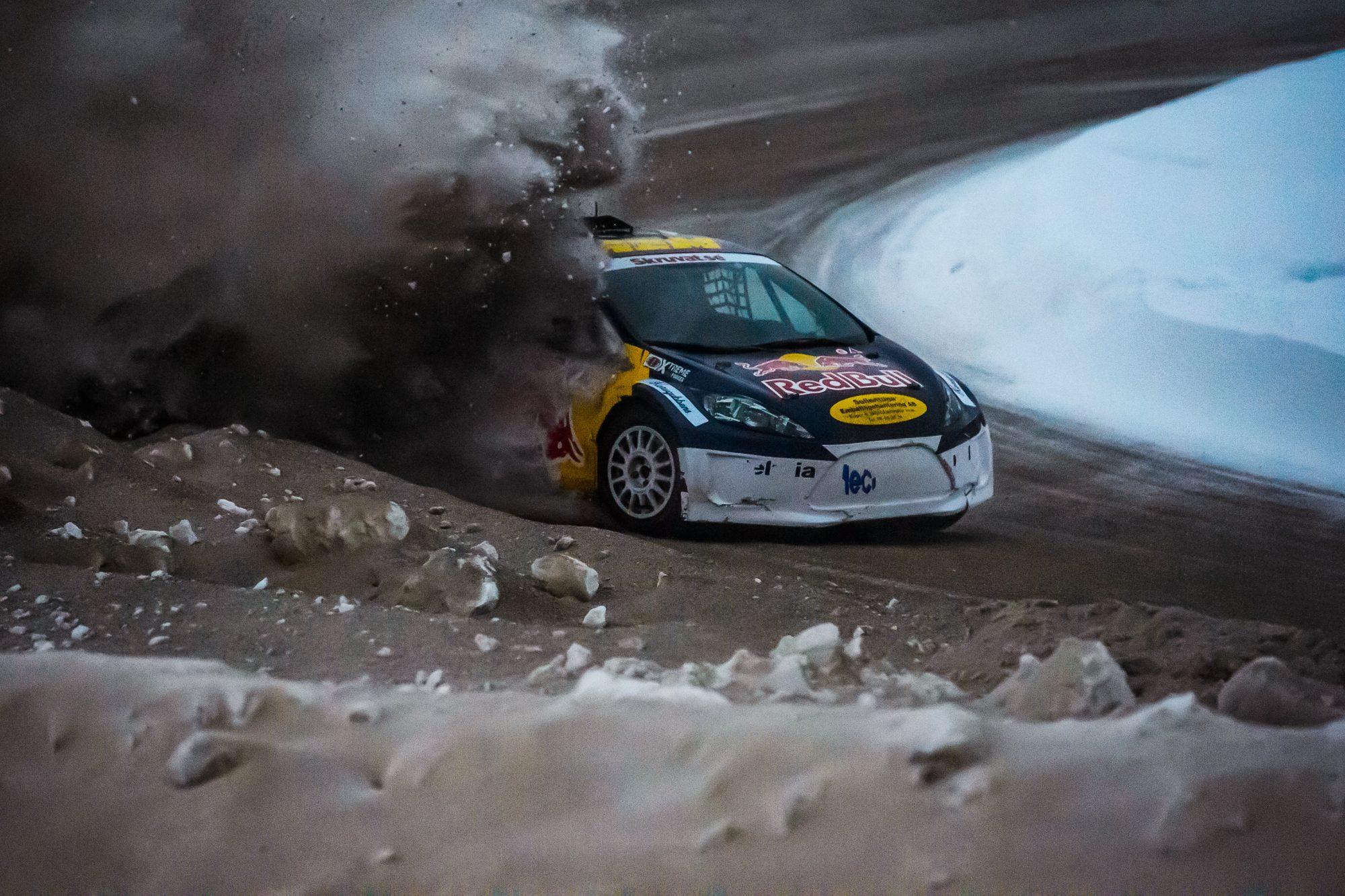 Sebastian Eriksson, Hagfors MK, tävlar i Rallycross under dag 5 av SM-veckan den 1 februari 2019 i Sundsvall.