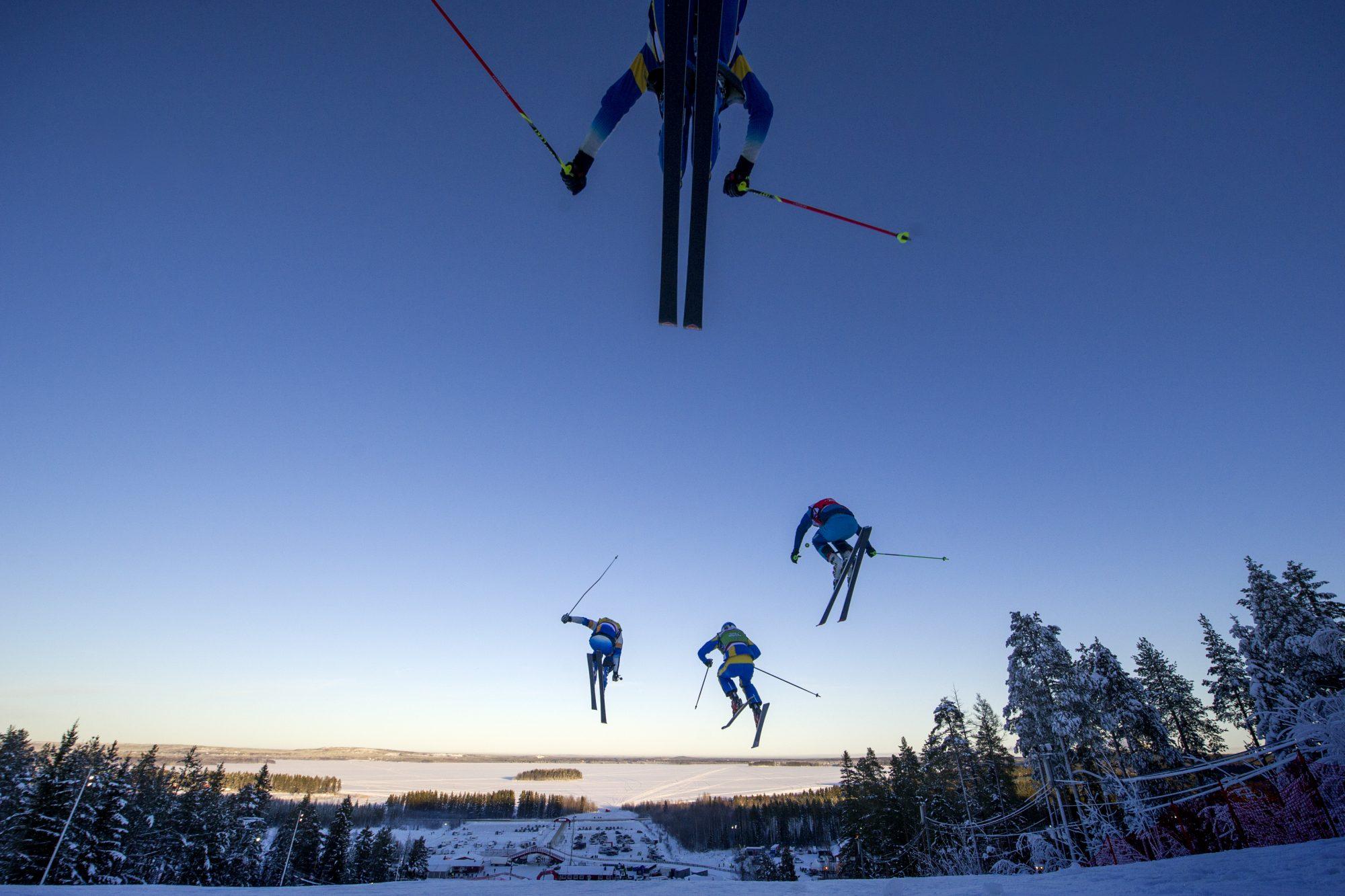 Skicross under dag tre av SM-veckan den 29 januari 2016 i Piteå