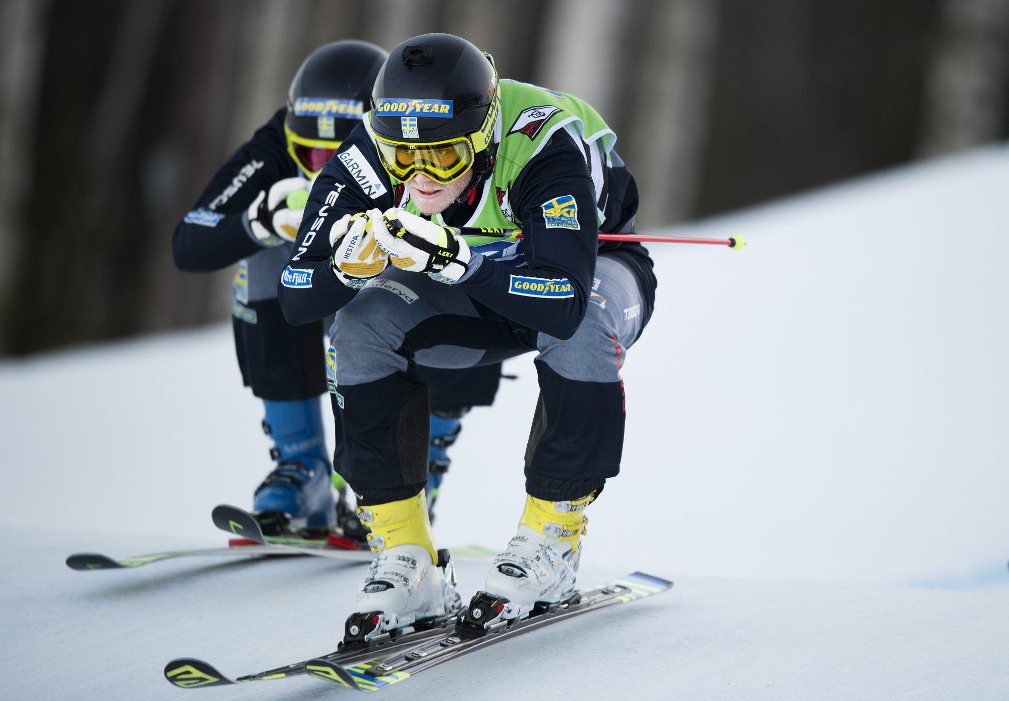 Victor Öhling Norberg, Funäsdalen, tävlar i skicross under dag ett av SM-veckan den 31 januari 2017 i Bollnäs.