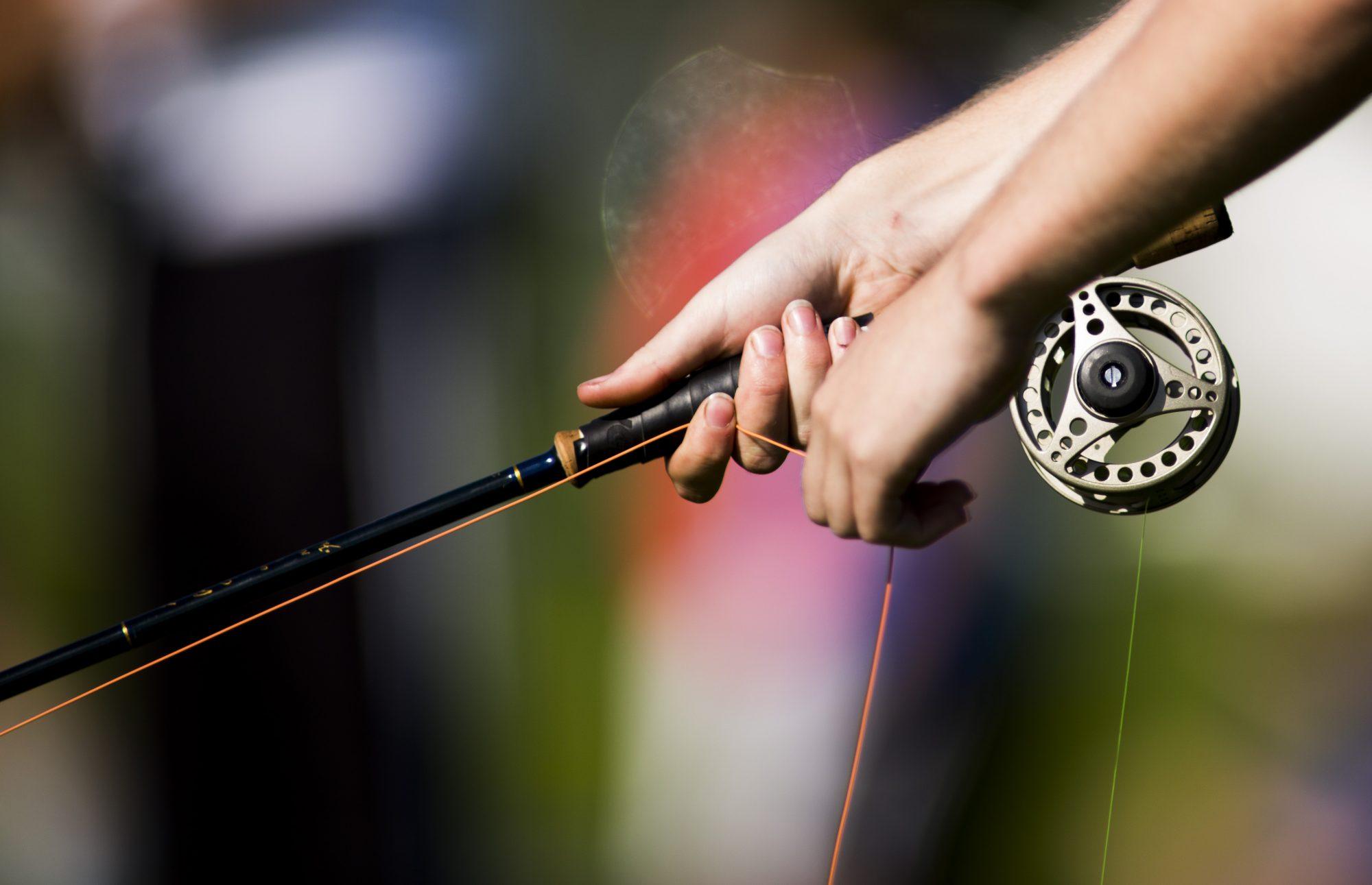 Flugfiskeutrustning används under precisionskastnings grenen i sporten Casting under dag sex av SM-veckan den 6 juli 2013 i Halmstad.