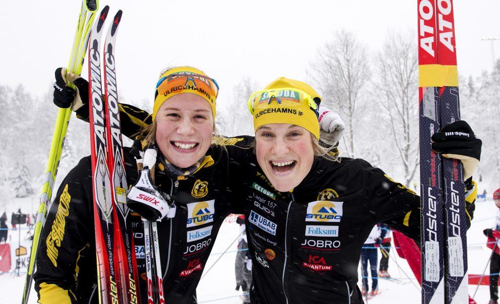 150201 Maria Nordström och Hanna Falk, Ulricehamn, tog brons och guld under svenska mästerskapet i skidsprint under dag fem av SM-veckan den 1 februari 2015 i Örebro.