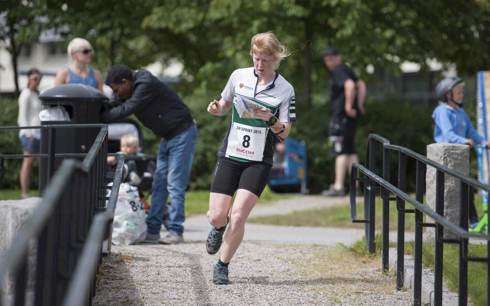 Amy Rankka, Linköpings OK, under sprintorienteringen dag 2 av SM-veckan den 30 juni 2015 i Sundsvall.