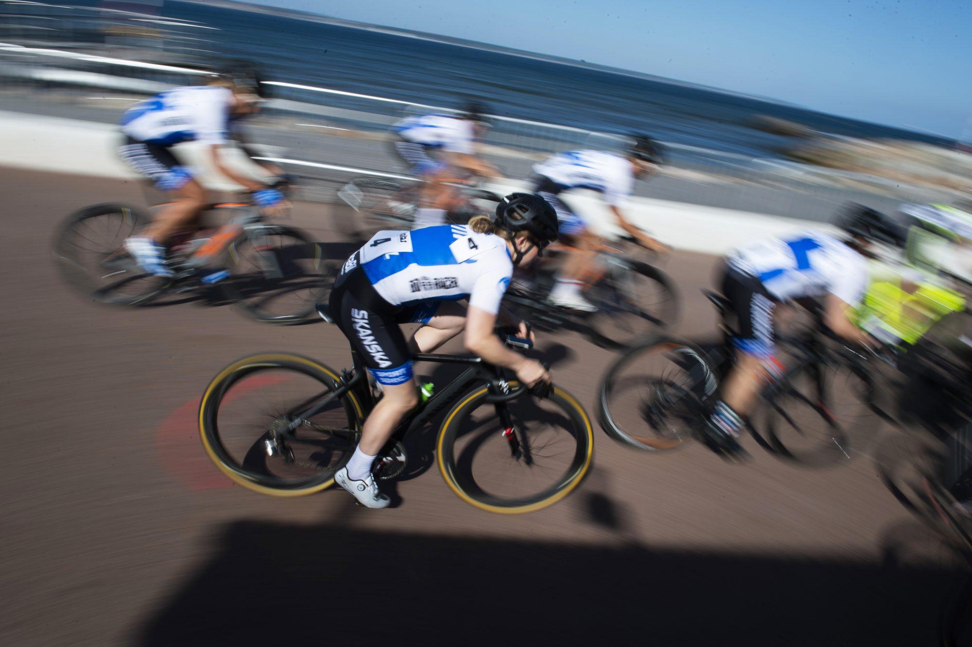 Josefin Bergman tävlar i cykel, kortbana, under dag 6 av SM-veckan 2018 den 7 juli 2018 i Helsingborg.