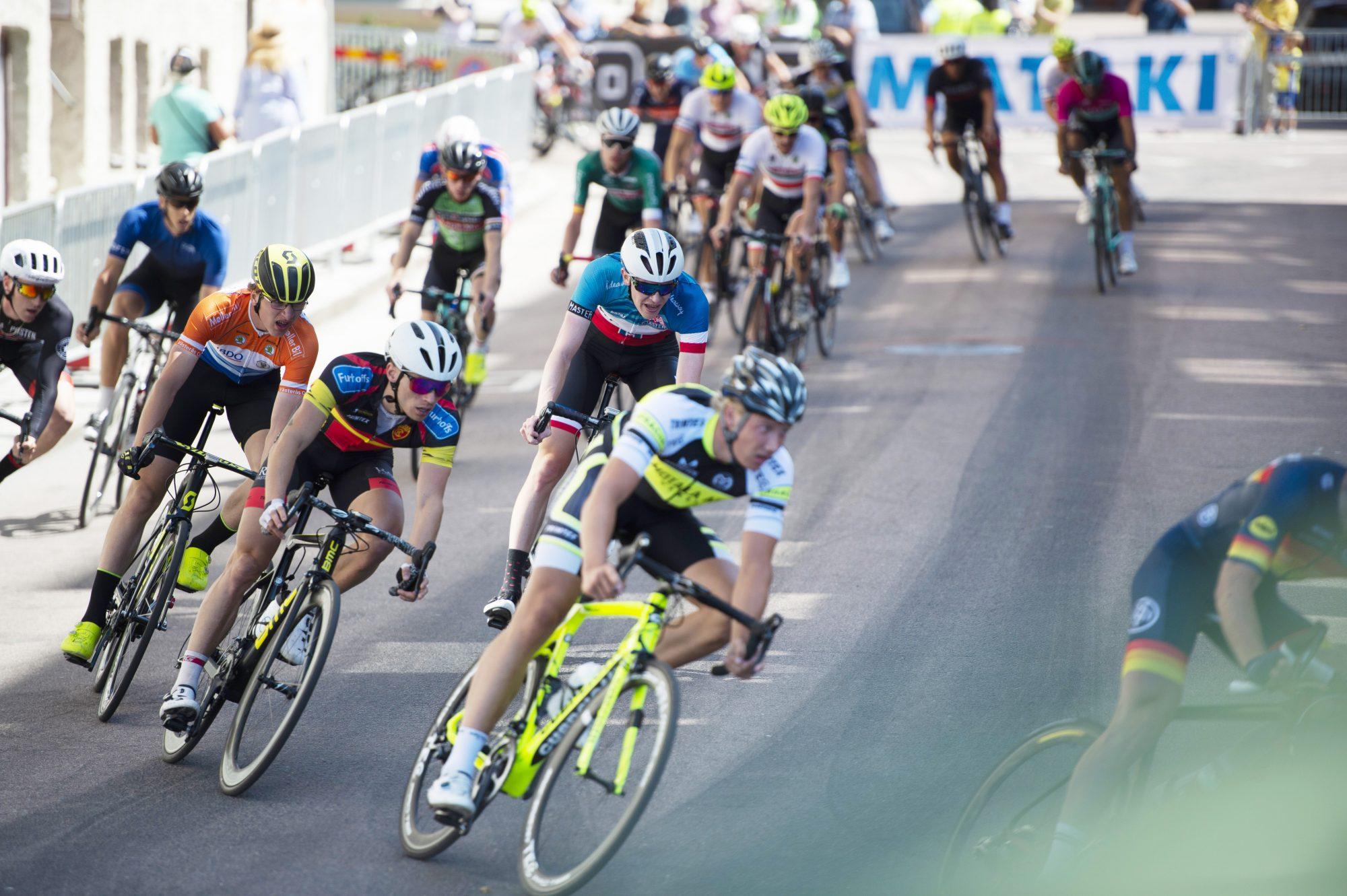 Utövare tävlar i cykel, kortbana, under dag 6 av SM-veckan 2018 den 7 juli 2018 i Helsingborg.