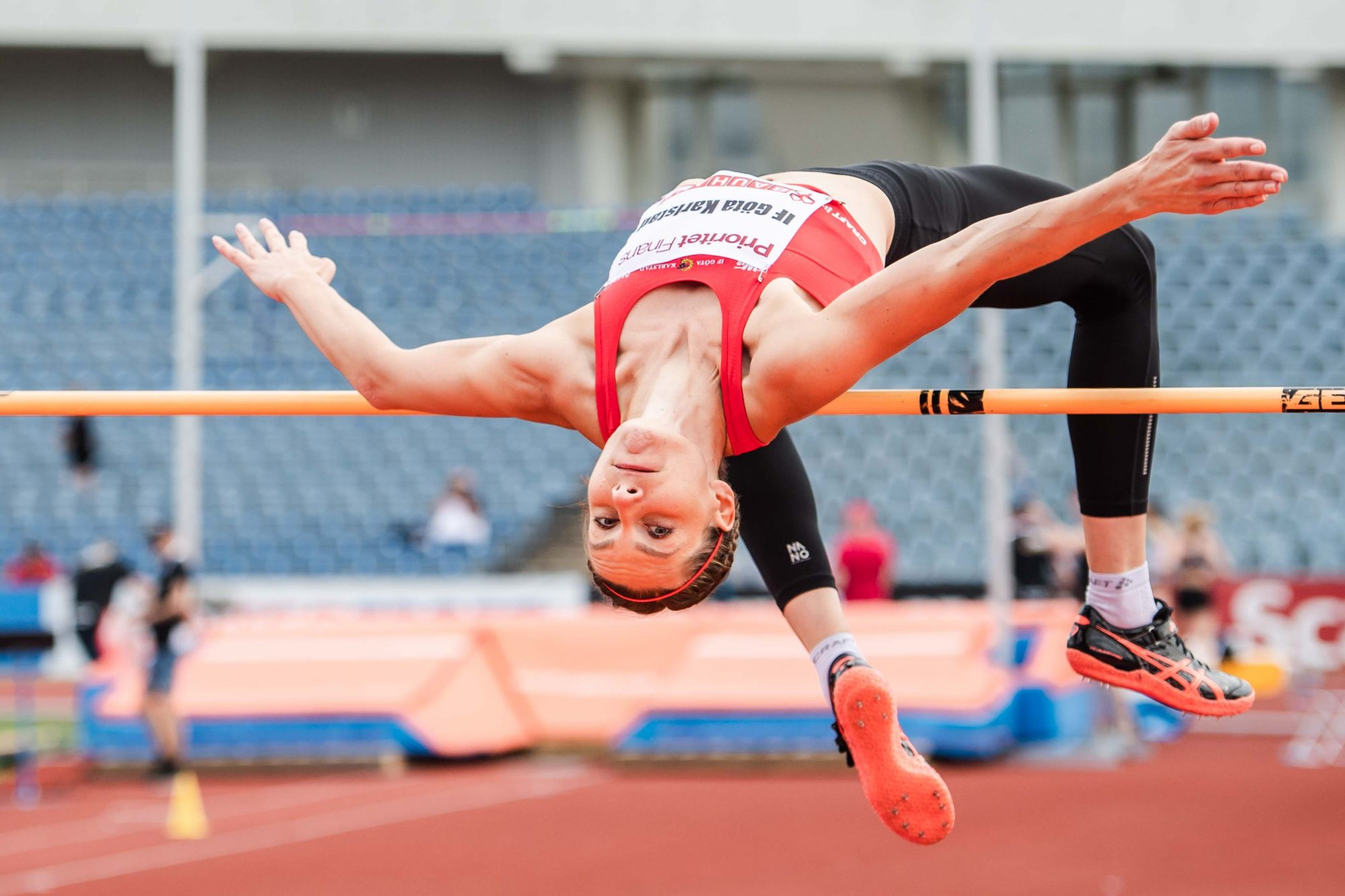 Sofie Skoog, Göta Karlstad, tävlar i damernas höjdhopp under Lag-SM i friidrott under dag 1 av SM-veckan den 26 juni 2019 i Malmö.