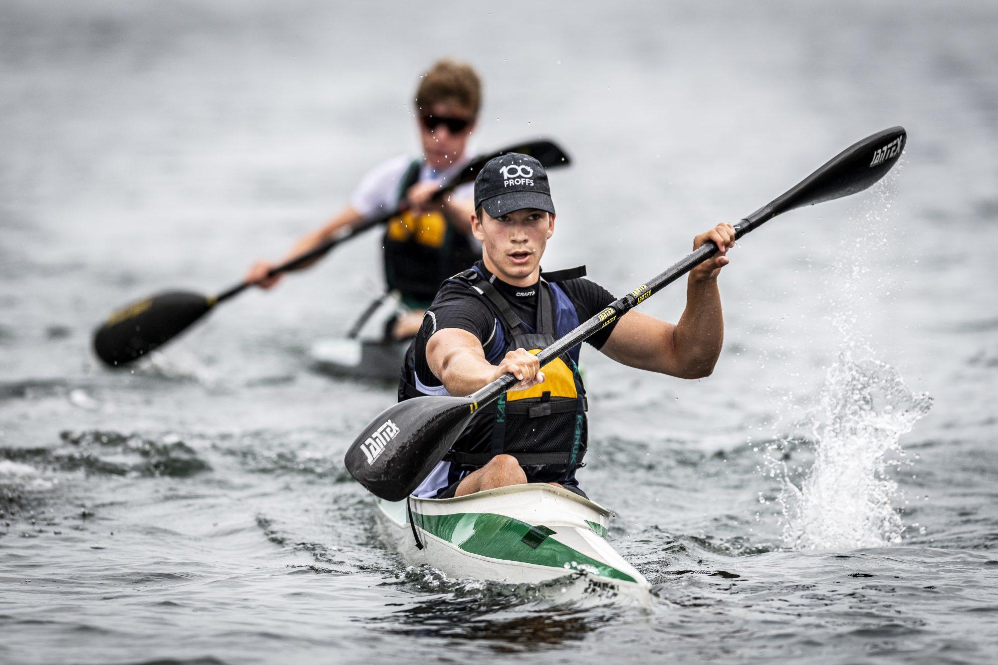 Axel Haglund tävlar i kanot under dag 6 av SM-veckan den 1 juli 2019 i Malmö.