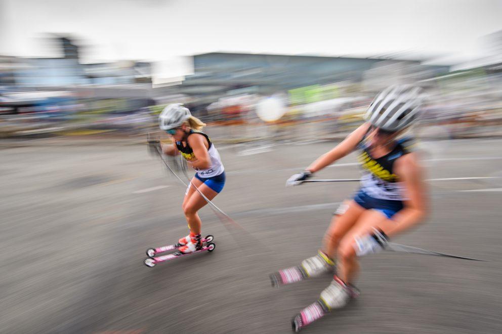Julia Angelsiöö tävlar i damernas rullskidor masstart under dag 6 av SM-veckan den 1 juli 2019 i Malmö.