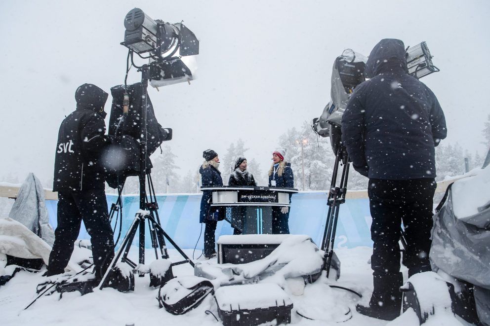 SVT's studio med Yvette Hermundstad, Kultur- och idrottsminister Amanda Lind och svenska skidförbundets ordförande Karin Mattsson under dag 7 av SM-veckan den 3 februari 2019 i Sundsvall.